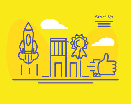 Start up concept with city horizon and business icons vector illustration
