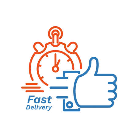 Fast delivery concept with hand and chronometer