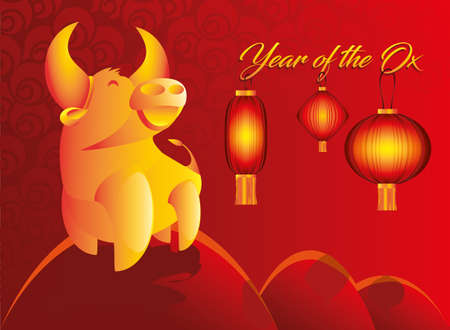 Year of the ox concept modern chinese calendar poster