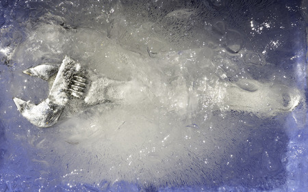 shifting: shifting wrench spanner in block of ice Stock Photo