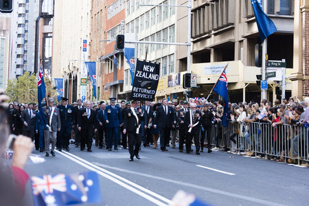 armed services: The New Zealand returned servicemen unit march past the crowd down Elizabeth St