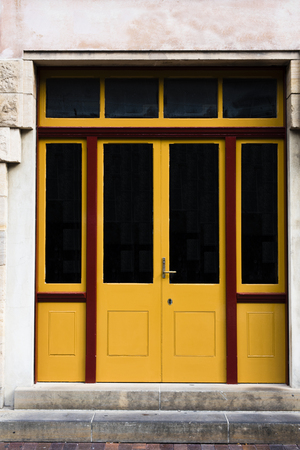 double glass: Double glass and wooden doors with red frames
