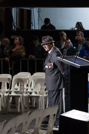 mc: MC Lt Col. John Moore in deep thought prior to the commencement of the ANZAC dawn service