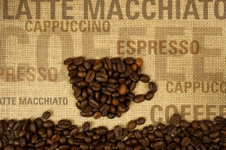 liking: cup of coffee on burlap with text in the background