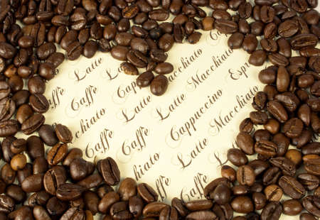 heart made with coffee beans and text photo