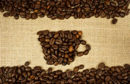caf: cup of coffee on burlap