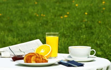 breakfast in the garden at springtime Standard-Bild