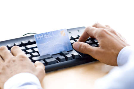 man is shopping and paying online photo