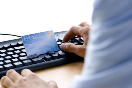 appoint: man is shopping and paying online