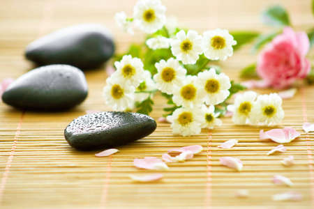 three stones with beautiful blossoms and petals Standard-Bild