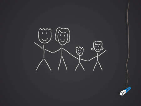 family drawn on a chalkboardblackboard photo