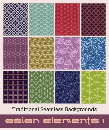Twelve traditional Japanese seamless patterns with geometric and nature themes.  Illustration