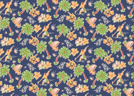 vintage tropical fabric pattern with parrots, fish, flowers, spear fishermen, palm trees Illustration