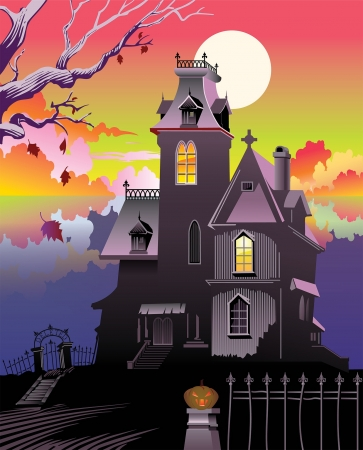 Halloween Haunted Victorian Mansion Vector