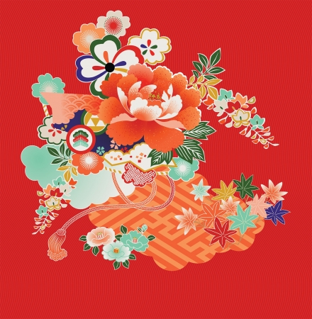 Floral montage from vintage Japanese kimono designs. Vector