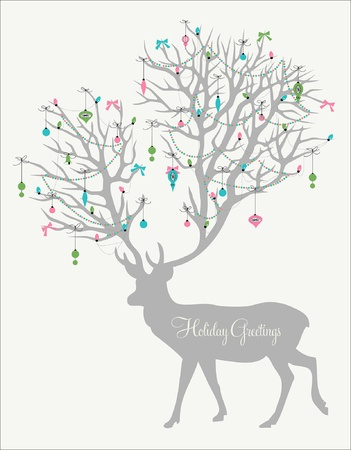 Holiday greetings! Silhouette of deer with huge antlers decorated with lights and ornaments