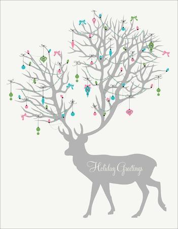 reindeer: Vacanze saluti! Silhouette di cervo con corna enormi decorato con luci e ornamenti