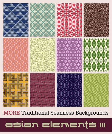 Twelve traditional Japanese seamless patterns with geometric and nature themes  Illustration