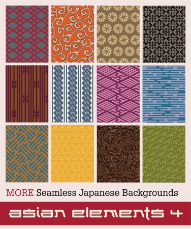 Twelve traditional Japanese seamless patterns with geometric and nature themes Stock Vector - 15252599