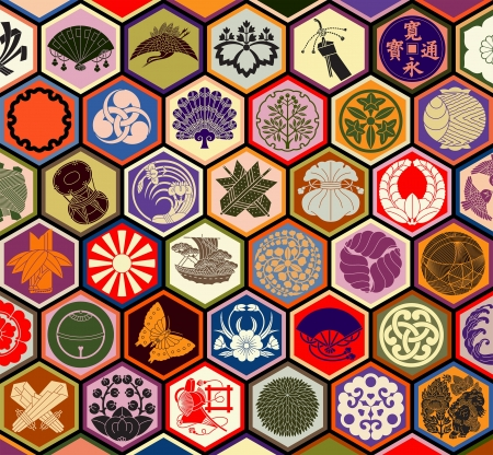 Japanese family crests in a hexagonal grid Illustration