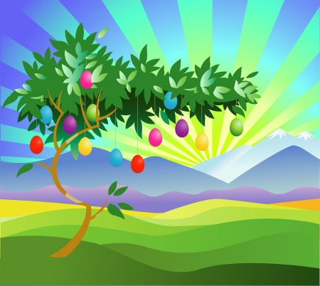 Easter egg tree Stock Vector - 17980448