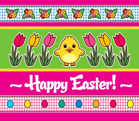 Easter Greetings  chick and tulips Vector