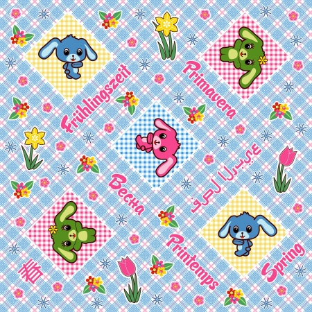 Pattern: Colored bunnies and the word SPRING in several languages Illustration