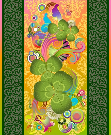 abstract composition with white clover and design elements