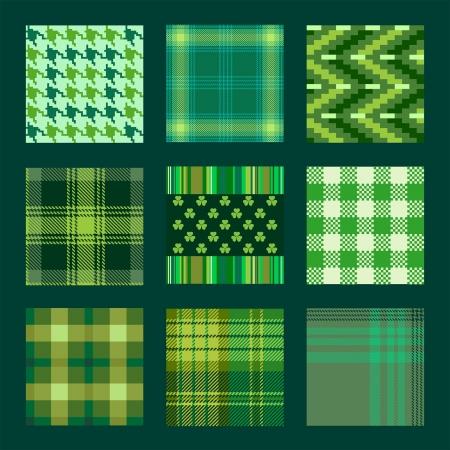 성 패트릭의 날에 대한 녹색 톤의 패턴과 격자 무늬