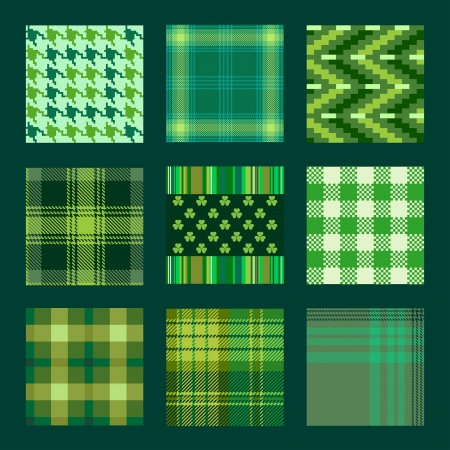 Patterns and plaids in green tones for St Patrick s Day Vector
