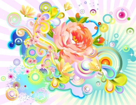 Floral abstraction with rose and other blossoms Stock Vector - 18224098