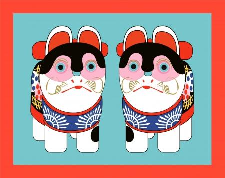 papier mache: juguete tradicional japon�s en forma de gatos Vectores