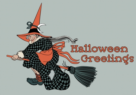 Classic Halloween Witch on Broomstick Иллюстрация