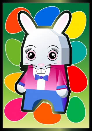 Funny Bunny for a Happy Easter  向量圖像