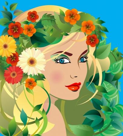 sch�nes frauengesicht: Sommer G�ttin junge blonde Frau mit Sommer Blumen in ihrem Haar Illustration
