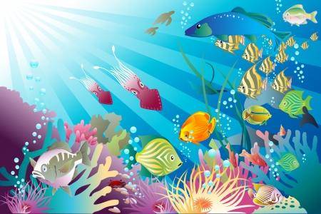 aqu�rio: Peixes e outras formas de vida brincam Under the Sea Ilustra��o