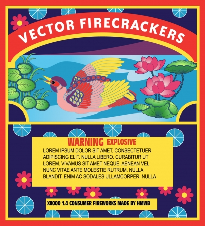 Firecracker Label for imaginary firecracker company