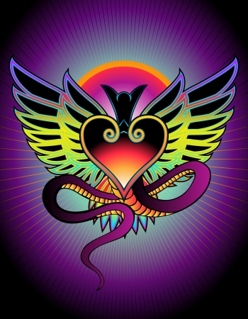 rainbow colors: tattoo style design of creature with wings and dragon tail Illustration