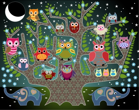 childrens: playful illustration with owls and elephants