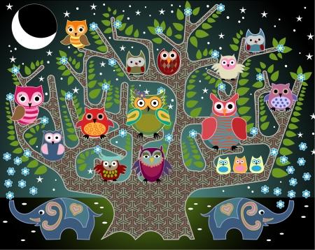 speelse illustratie met uilen en olifanten