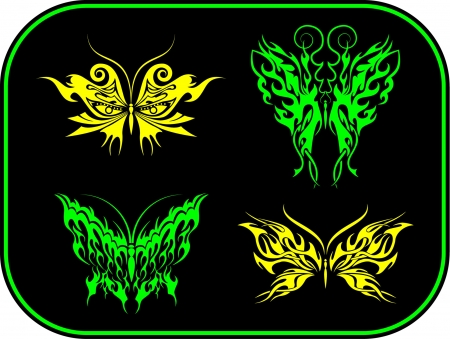 four unique tribal style vinyl-ready butterfly designs