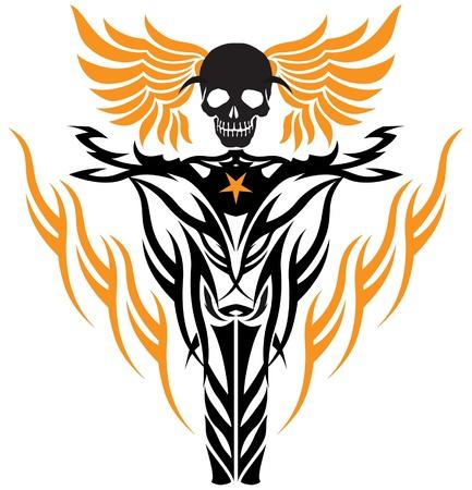 tribal tattoo stijl vliegen schedel op wielen van motorfietsen