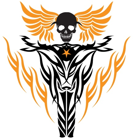engine flame: tribal tattoo style flying skull at wheel of motorcycle