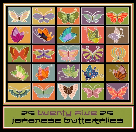 Twenty five traditional style Japanese butterfly designs