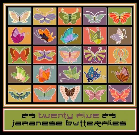 Vijfentwintig traditionele stijl Japanse vlinderontwerpen Stock Illustratie