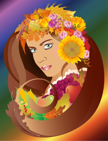 A beautiful brunette woman with green eyes and golden skin, wearing leaves and flowers of autumn and surrounded by ripe fruit and grain