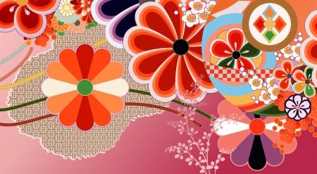 伝統的な日本のデザイン要素の抽象的なモンタージュ