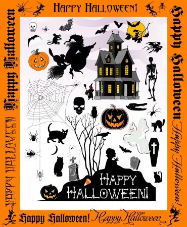 Halloween pictogrammen en silhouetten