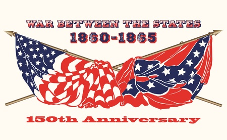 Vlaggen van de Amerikaanse Burgeroorlog 1860- 1865 Stock Illustratie