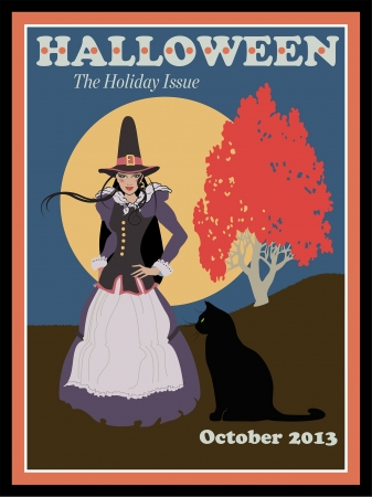 Mocked-up magazine cover featuring a witch and her black cat 일러스트